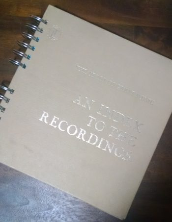 An Index to the Recordings Book Journal