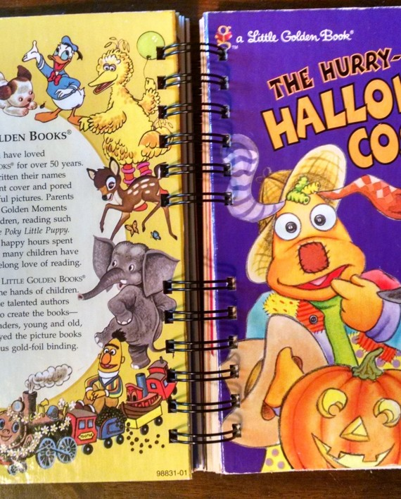 The Hurry Up Halloween Costume, Upcycled Little Golden Book Journal, Cover