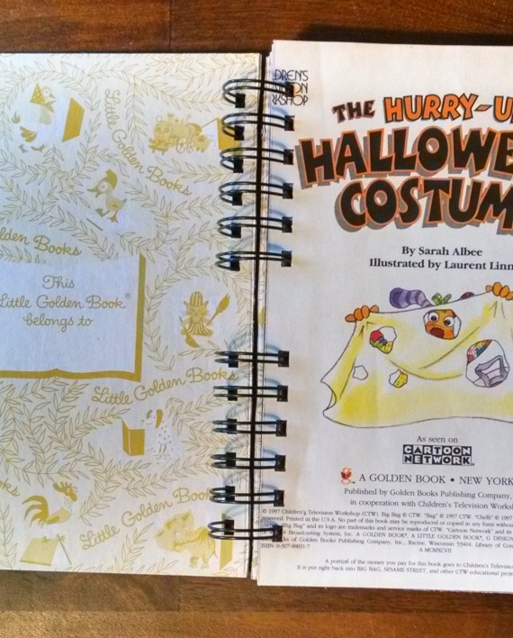 The Hurry Up Halloween Costume, Upcycled Little Golden Book Journal, Interior