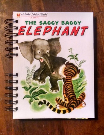 The Saggy Baggy Elephant, Little Golden Book, Upcycled Book Journal