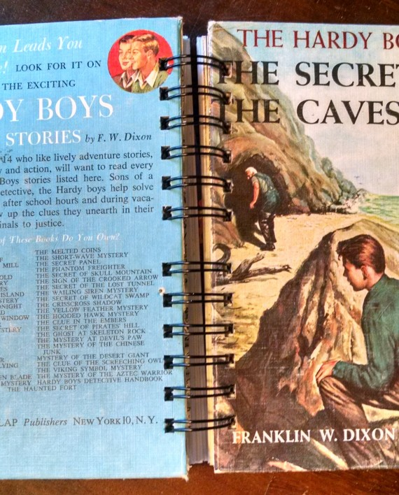 The Secret of the Caves, The Hardy Boys, Vintage Book Journal, Cover