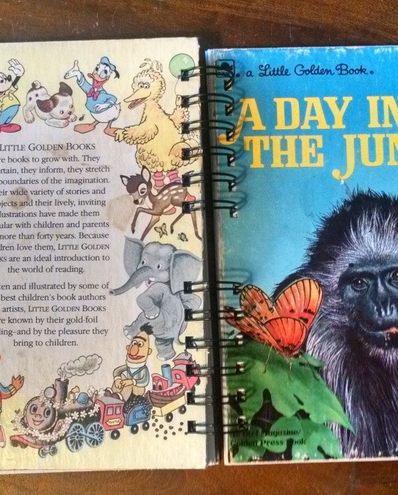A Day in the Jungle, Recycled Little Golden Book Journal, Cover