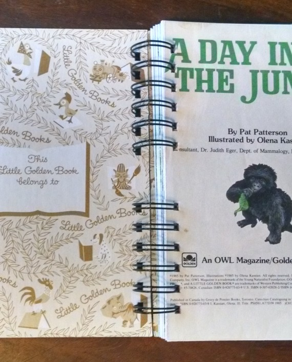 A Day in the Jungle, Recycled Little Golden Book Journal, Interior