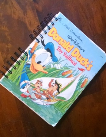 Donald Ducks Toy Sailboat, Recycled Little Golden Book Journal