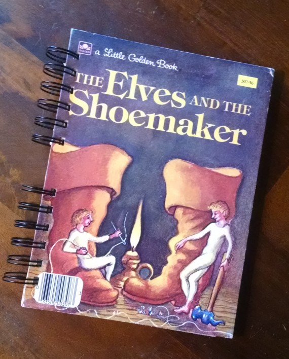 The Elves and the Shoemaker, Upcycled Little Golden Book Journal