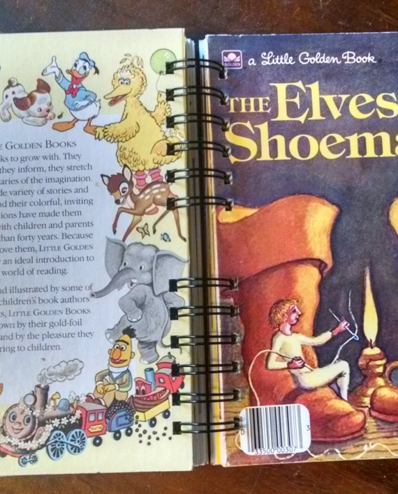The Elves and the Shoemaker, Upcycled Little Golden Book Journal, Cover