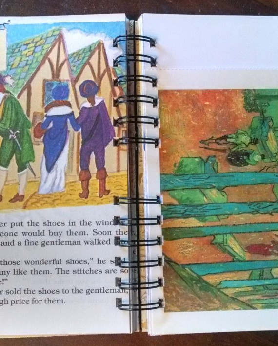 The Elves and the Shoemaker, Upcycled Little Golden Book Journal, Interior 2