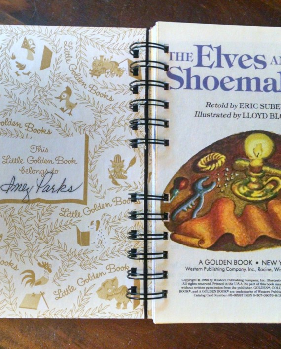 The Elves and the Shoemaker, Upcycled Little Golden Book Journal, Interior
