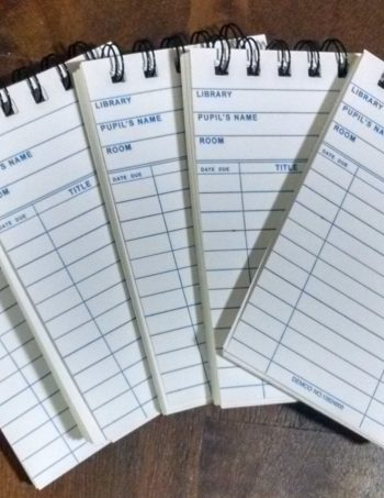White Library Card Notebooks