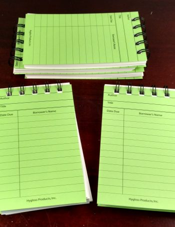 Five Bright Green Library Card Notebooks