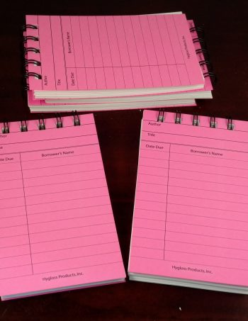 Five Bright Pink Library Notepads